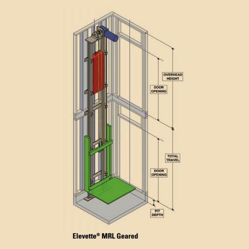 Inclinator Elevette Machine Roomless Geared